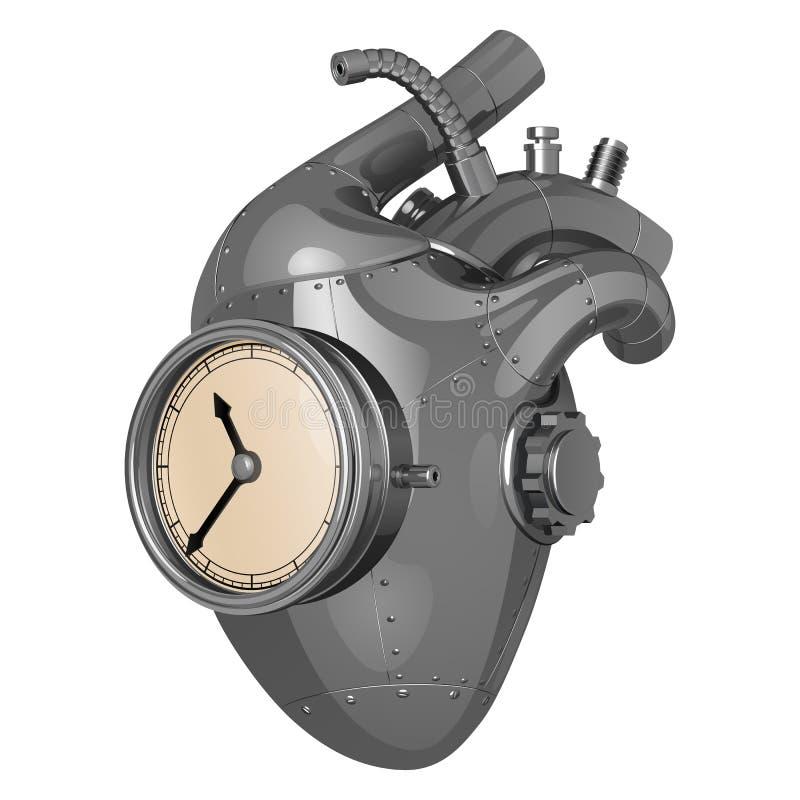 Corazón de acero mecánico con los relojes, los remaches y los engranajes stock de ilustración
