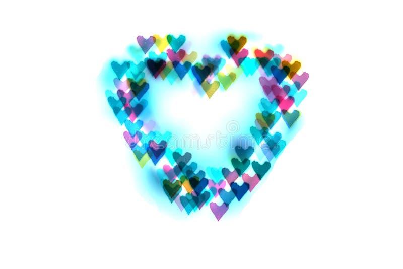 Corazón de corazones-bokeh coloreados brillantes Fondo para los amantes fotografía de archivo
