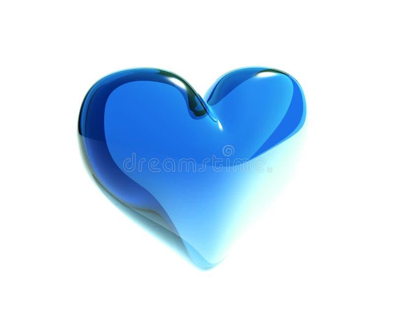 Corazón de cristal azul aislado stock de ilustración