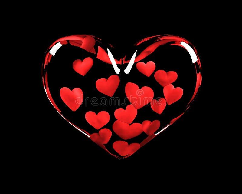 Corazón de cristal con 14 corazones adentro stock de ilustración
