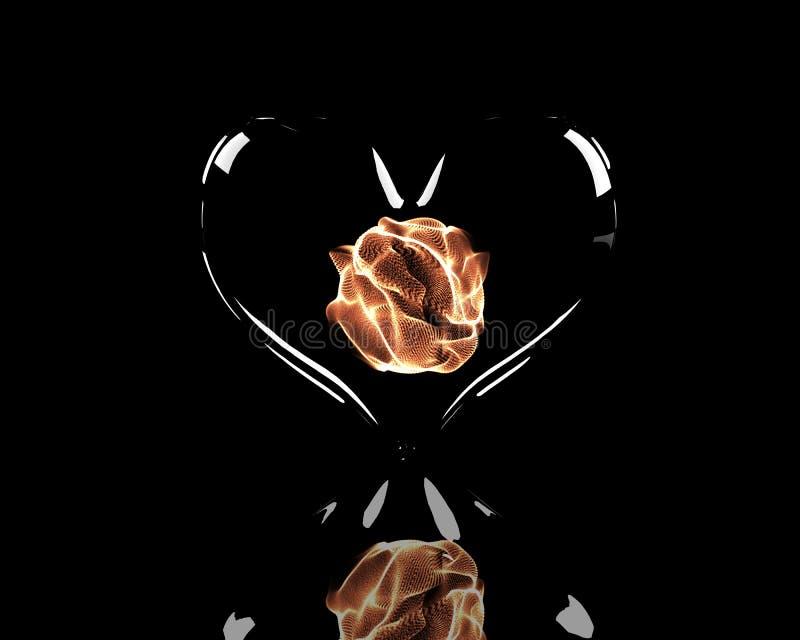 Corazón de cristal con la bola ardiente adentro stock de ilustración