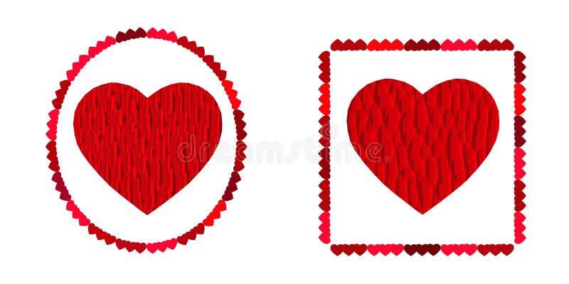 Corazón de dos rojos, símbolo del amor, elemento excelente del vector para su diseño el día de tarjeta del día de San Valentín ilustración del vector