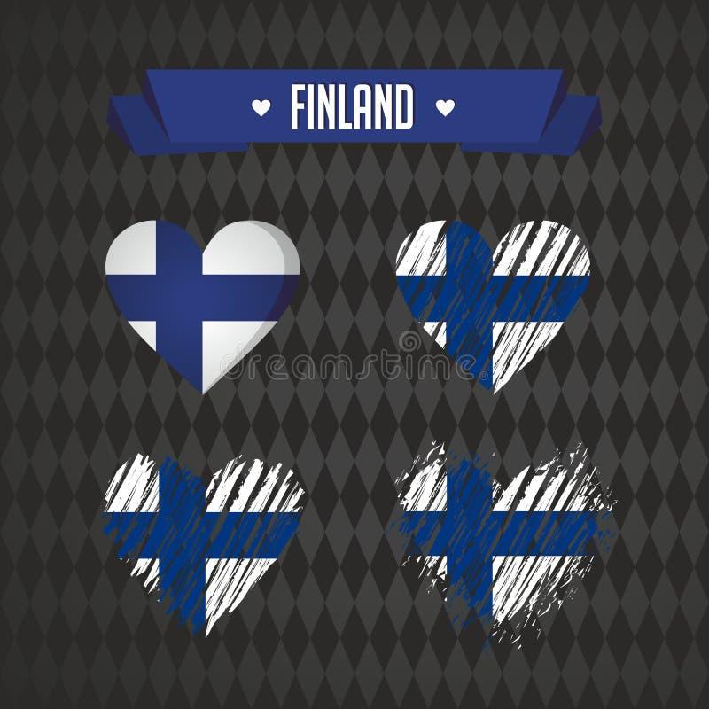 Corazón de Finlandia con la bandera dentro Símbolos gráficos de vector del Grunge ilustración del vector