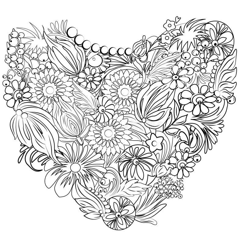 Corazón De Flores Y De Hojas Exhaustas Para El Libro De Colorear ...