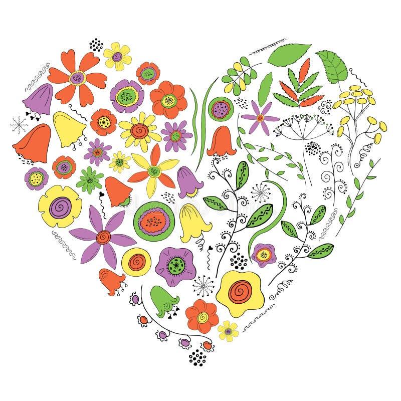 Corazón de flores y de plantas en un fondo blanco stock de ilustración