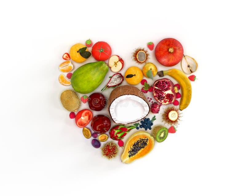 Corazón de frutos imagen de archivo