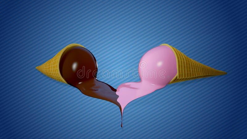 Corazón de fusión del helado fotografía de archivo