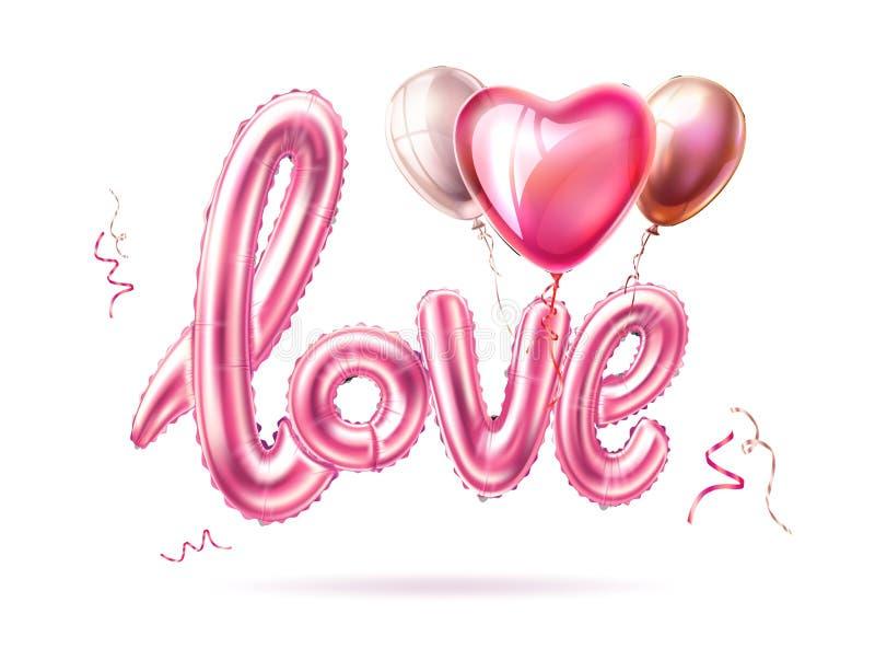 Corazón de goma realista del globo del amor del vector en rosa stock de ilustración