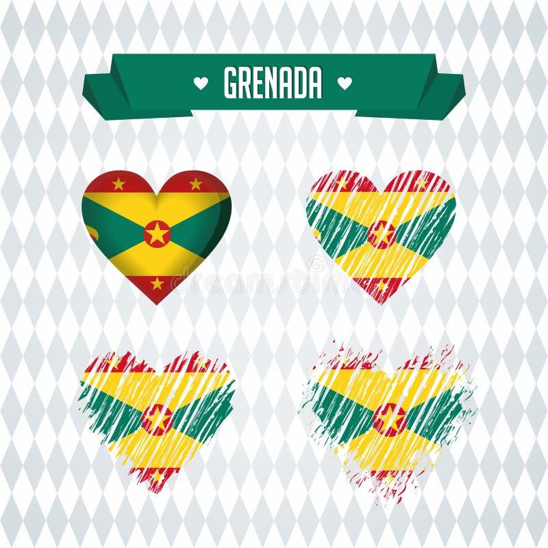 Corazón de Grenada con la bandera dentro Símbolos gráficos de vector del Grunge ilustración del vector