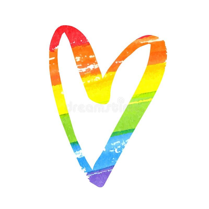 Corazón de la acuarela del arco iris Símbolo de la bandera de LGBT aislado en el fondo blanco ilustración del vector