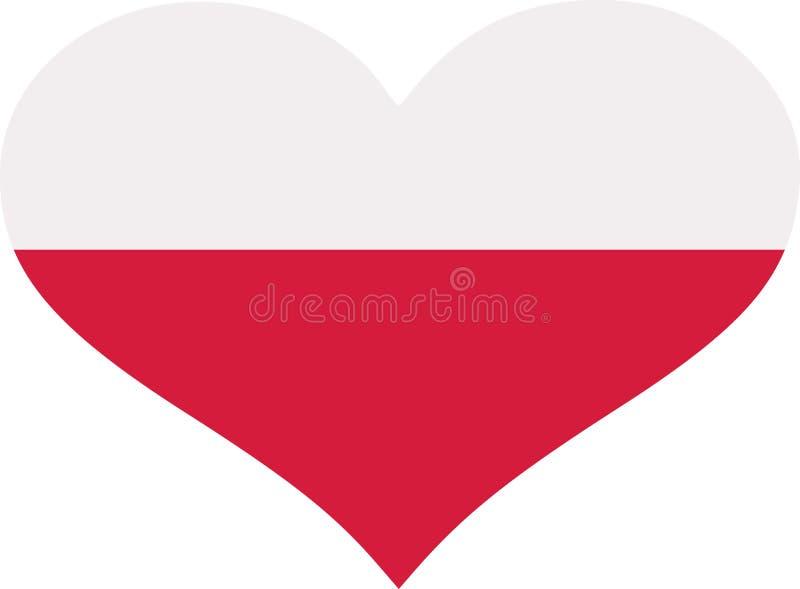Corazón de la bandera de Polonia stock de ilustración