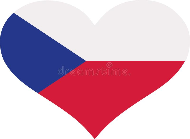 Corazón de la bandera de la República Checa stock de ilustración