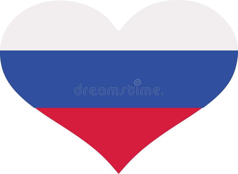 Corazón de la bandera de Rusia ilustración del vector