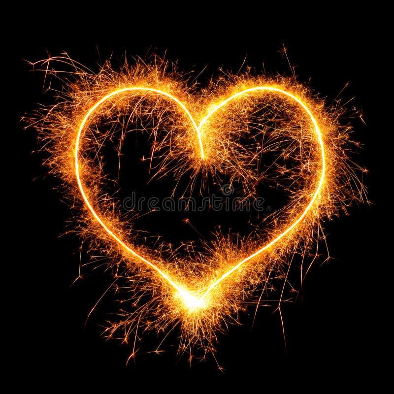 Corazón de la bengala en negro fotografía de archivo