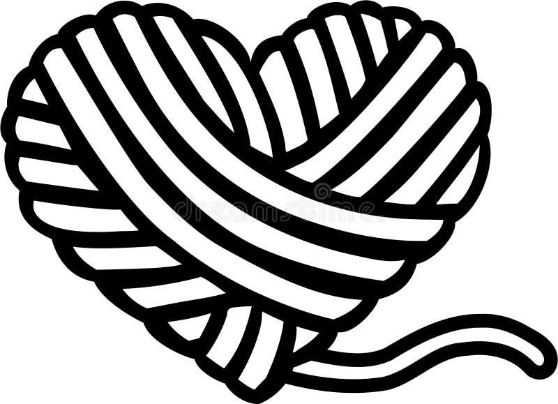 Corazón de la bola de las lanas stock de ilustración