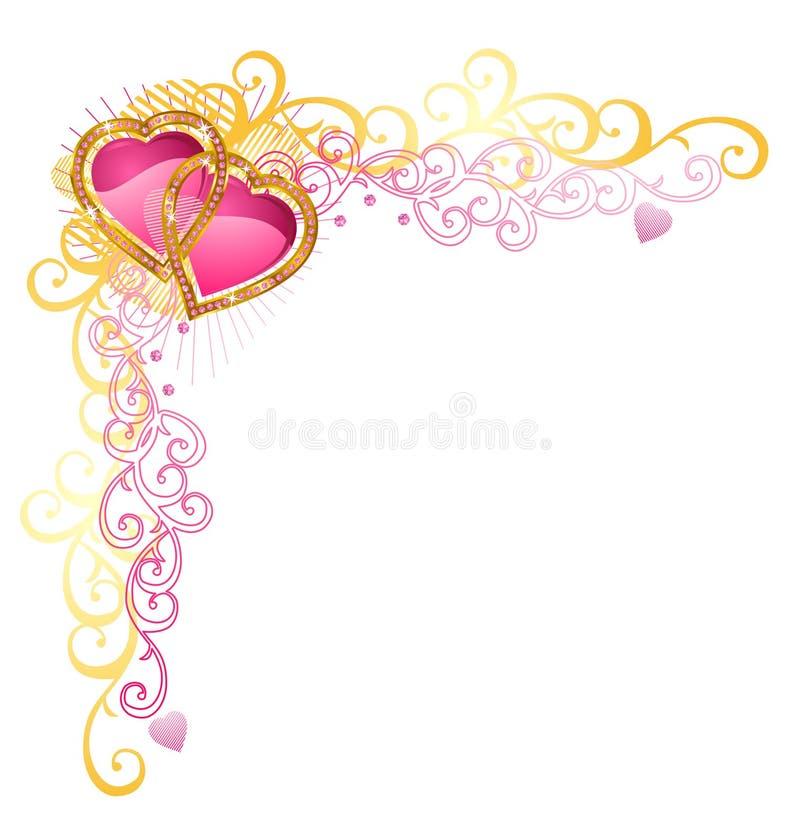 Corazón de la esquina del amor/del vector/del día de tarjeta del día de San Valentín ilustración del vector