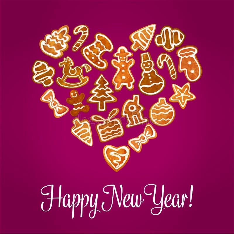 Corazón de la Feliz Año Nuevo de las galletas del pan de jengibre stock de ilustración