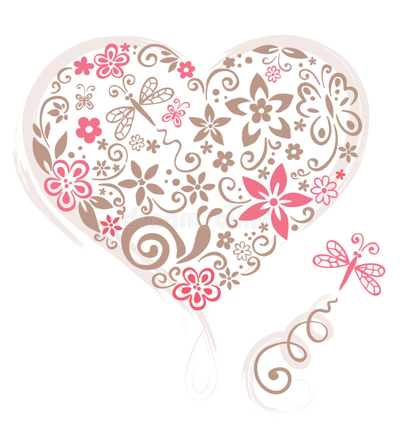Corazón de la flor ilustración del vector