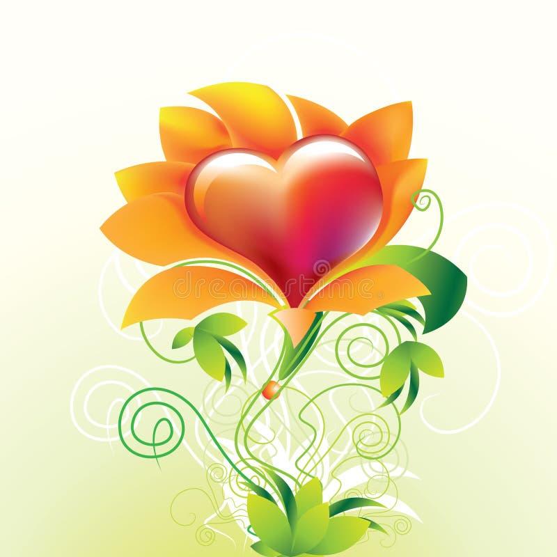 Corazón de la flor stock de ilustración
