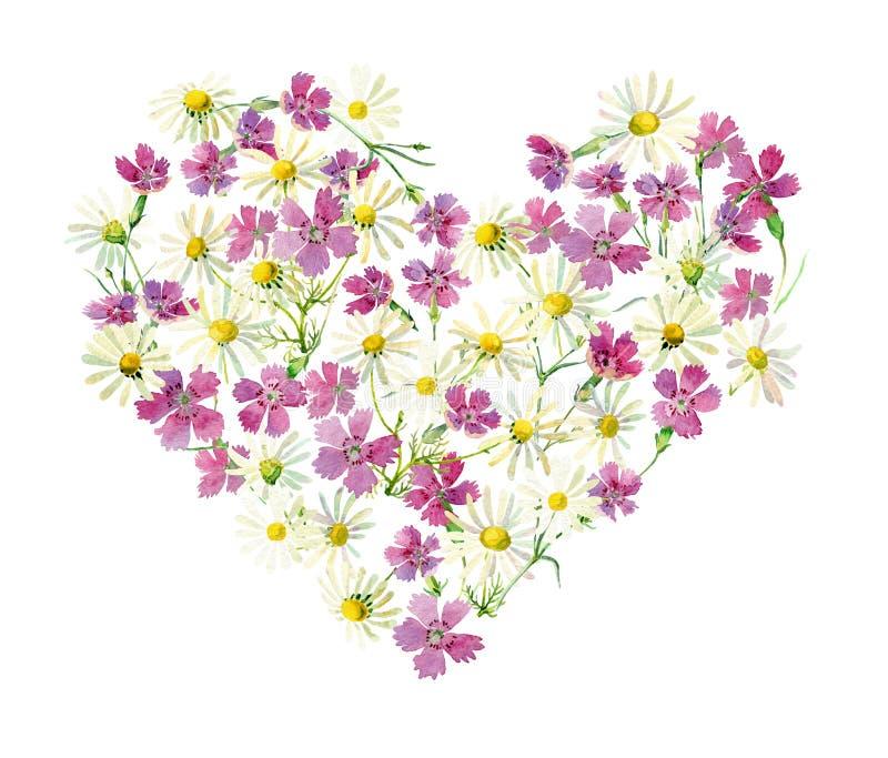Corazón de la flor de margaritas y de claveles fotografía de archivo libre de regalías