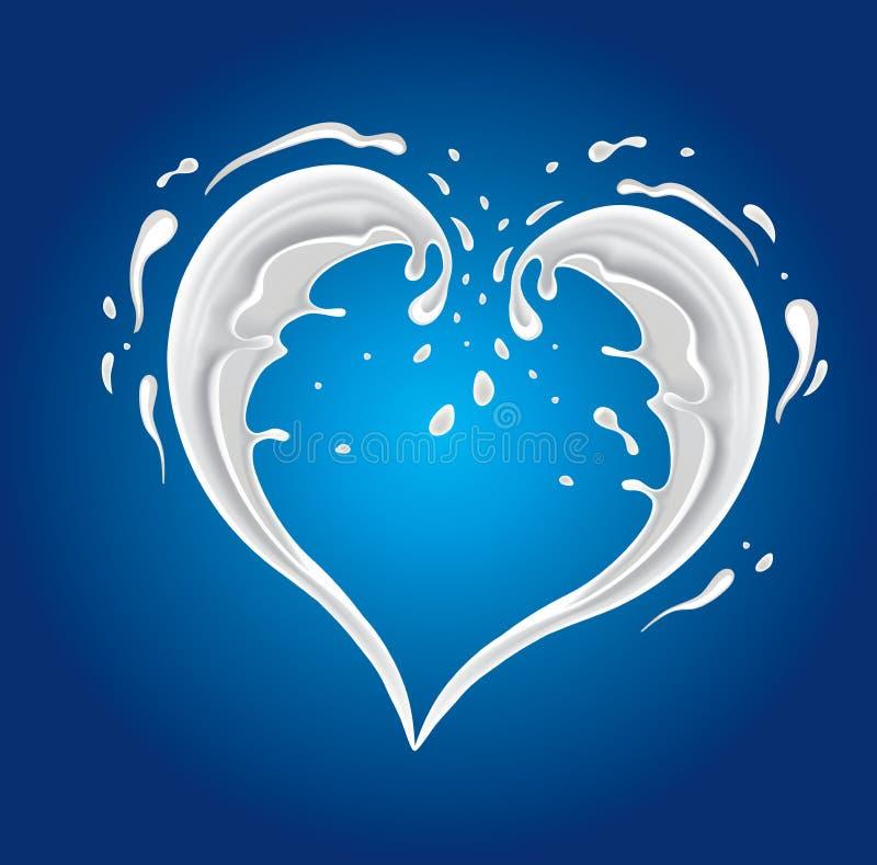 Corazón de la forma del chapoteo de la leche stock de ilustración