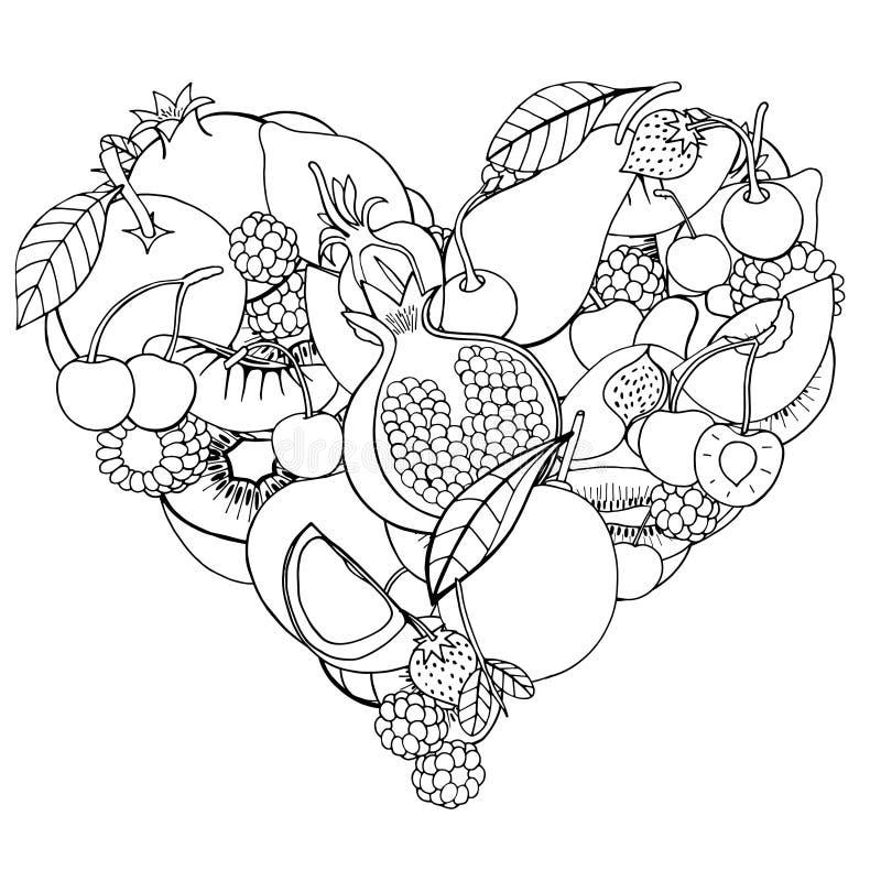 Corazón de la fruta y de la baya sanas ilustración del vector