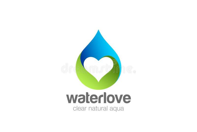 Corazón de la gotita de agua dentro del vector del diseño del logotipo naciones ilustración del vector