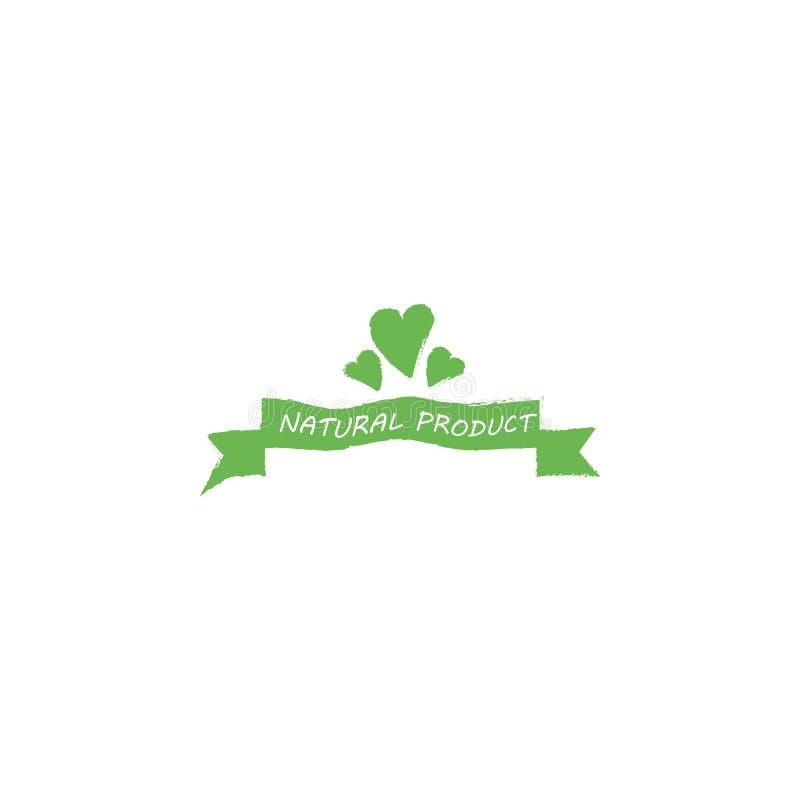 Corazón de la hoja sobre la plantilla orgánica de Logo Cool Flat Vector Design del producto del texto en el fondo blanco ilustración del vector