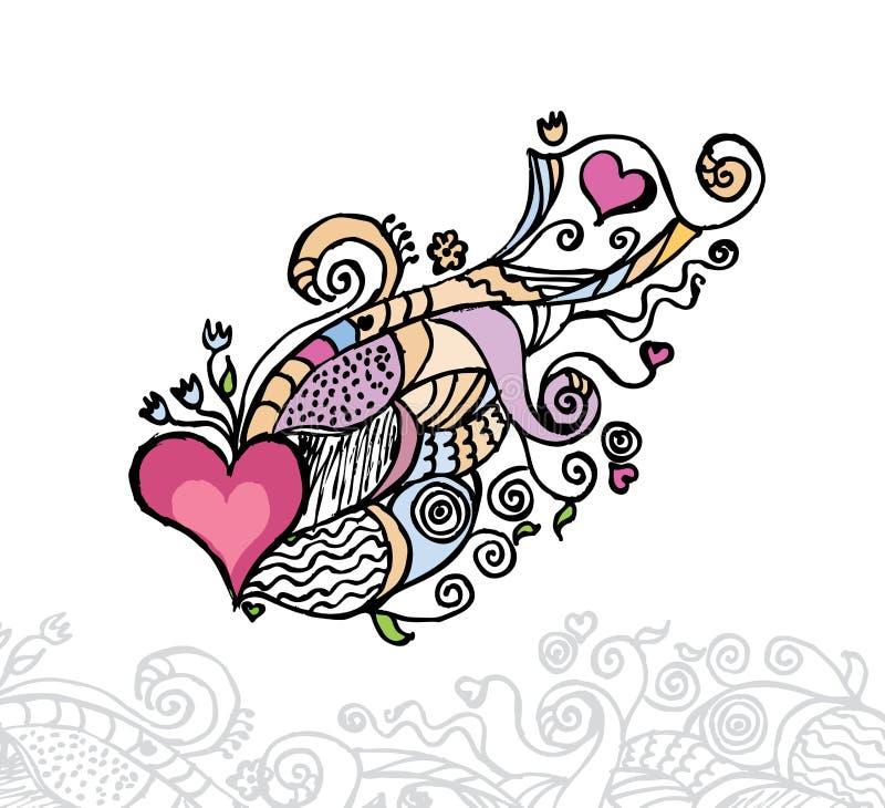 Corazón de la ilustración del vector del amor/del doodle stock de ilustración