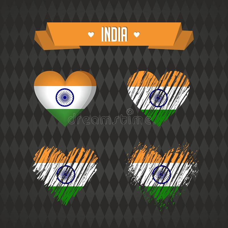 Corazón de la India con la bandera dentro Símbolos gráficos de vector del Grunge stock de ilustración