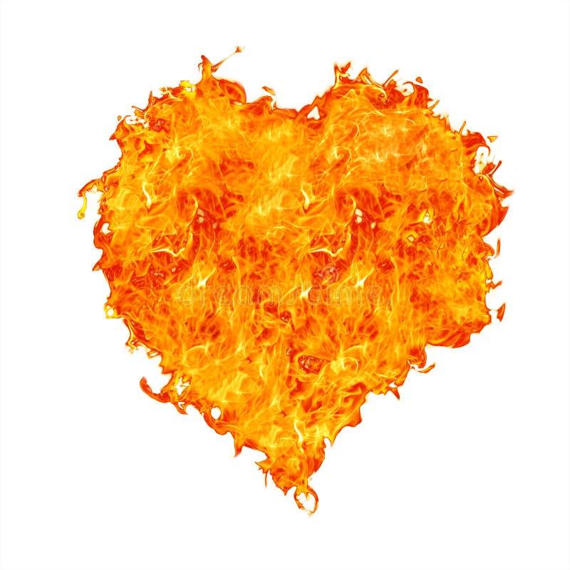 Corazón de la llama en blanco imagen de archivo