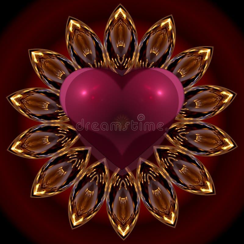 Corazón de la mandala stock de ilustración