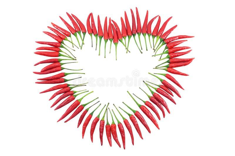 Corazón de la pimienta de chile rojo fotos de archivo