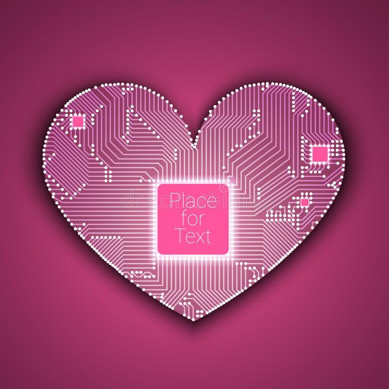 Corazón de la placa de circuito con el procesador dentro stock de ilustración
