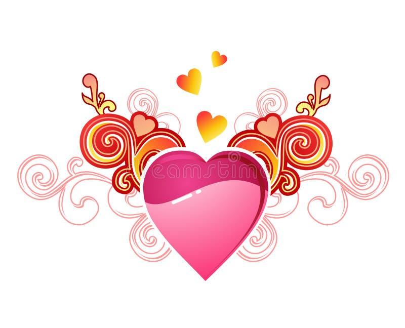 Corazón de la tarjeta del día de San Valentín con amor/vector ilustración del vector