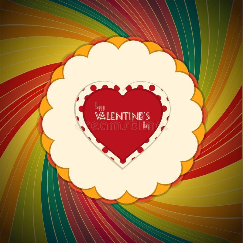 Corazón de la tarjeta del día de San Valentín con el texto en fondo del vintage stock de ilustración