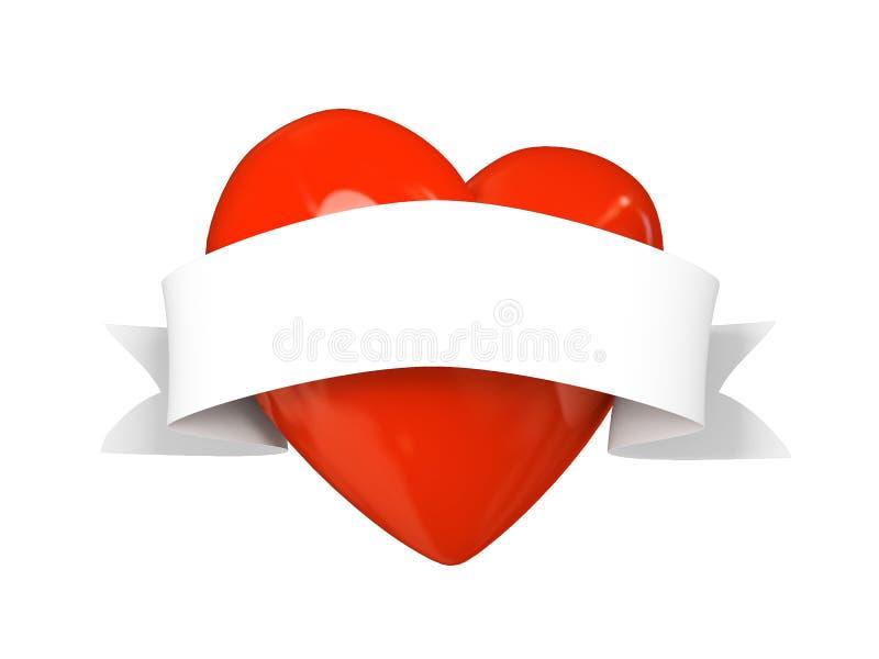 Corazón de la tarjeta del día de San Valentín con la cinta aislada en el fondo blanco ilustración del vector