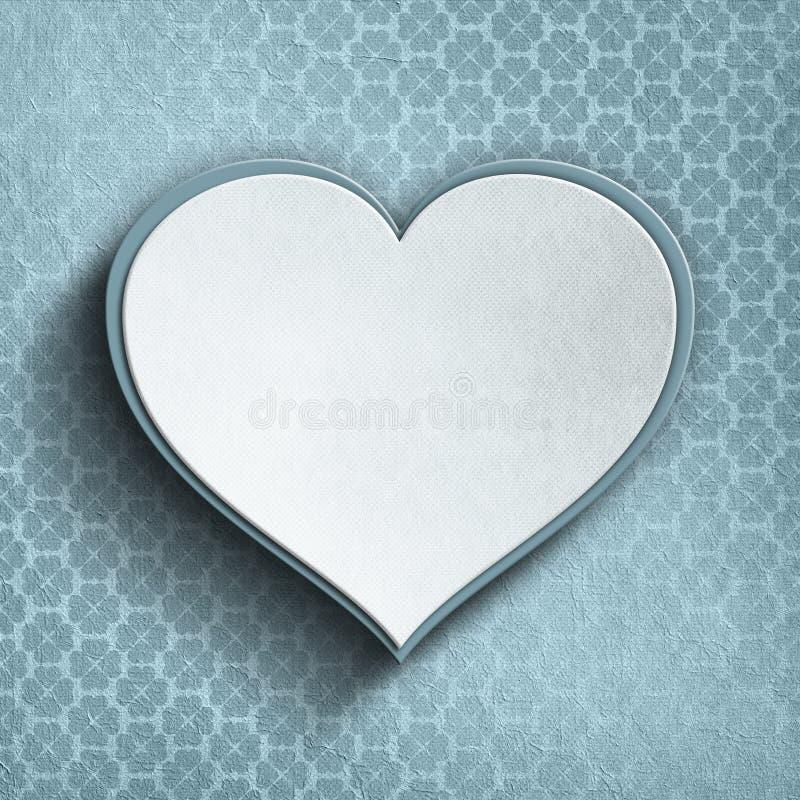 Corazón de la tarjeta del día de San Valentín en fondo modelado stock de ilustración