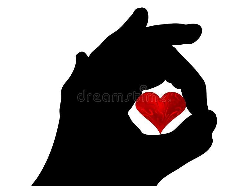 Corazón de la tarjeta del día de San Valentín en la mano stock de ilustración