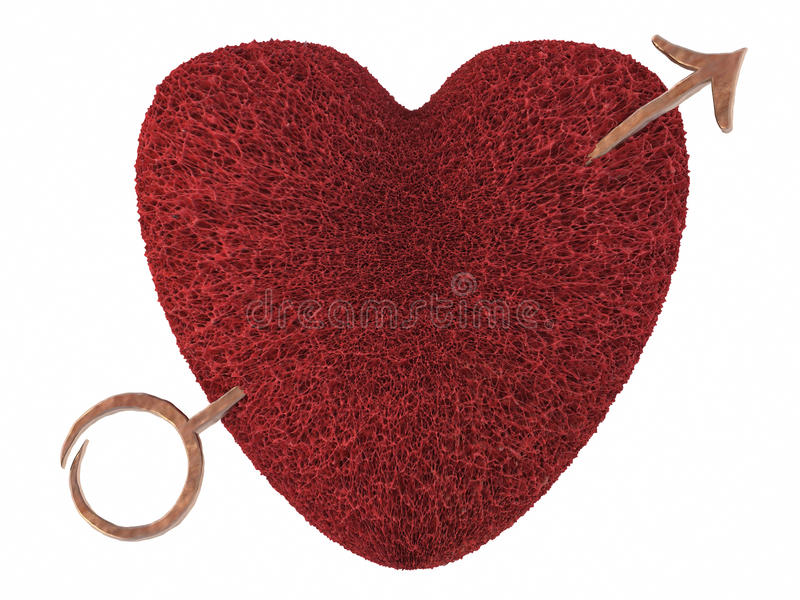 Corazón De La Tarjeta Del Día De San Valentín Perforado Por Una ...