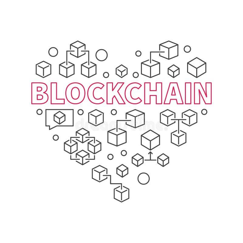 Corazón de la tecnología de Blockchain Amo símbolo del vector de la cadena de bloque ilustración del vector