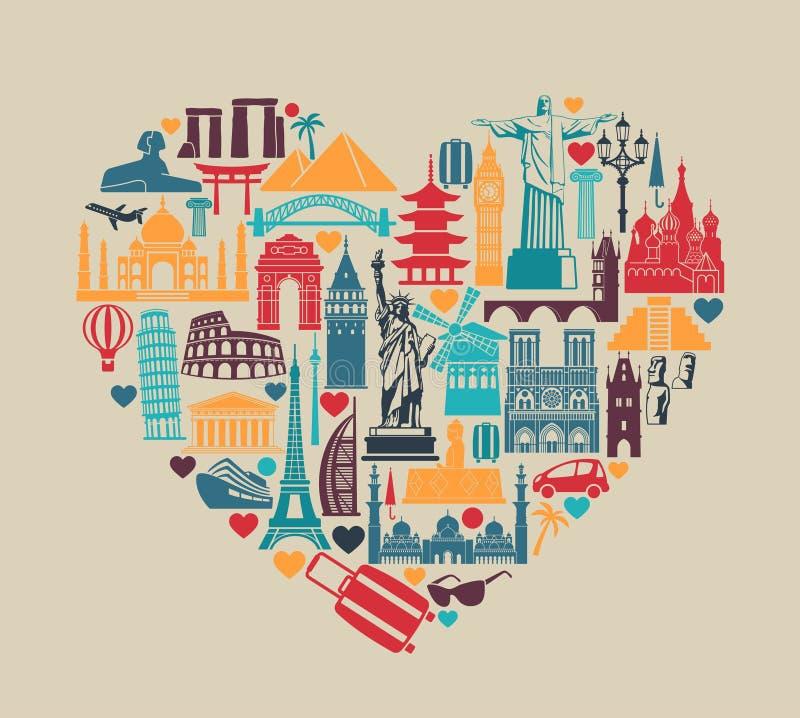 Corazón de las atracciones turísticas del mundo de los iconos de los símbolos y de las señales arquitectónicas stock de ilustración