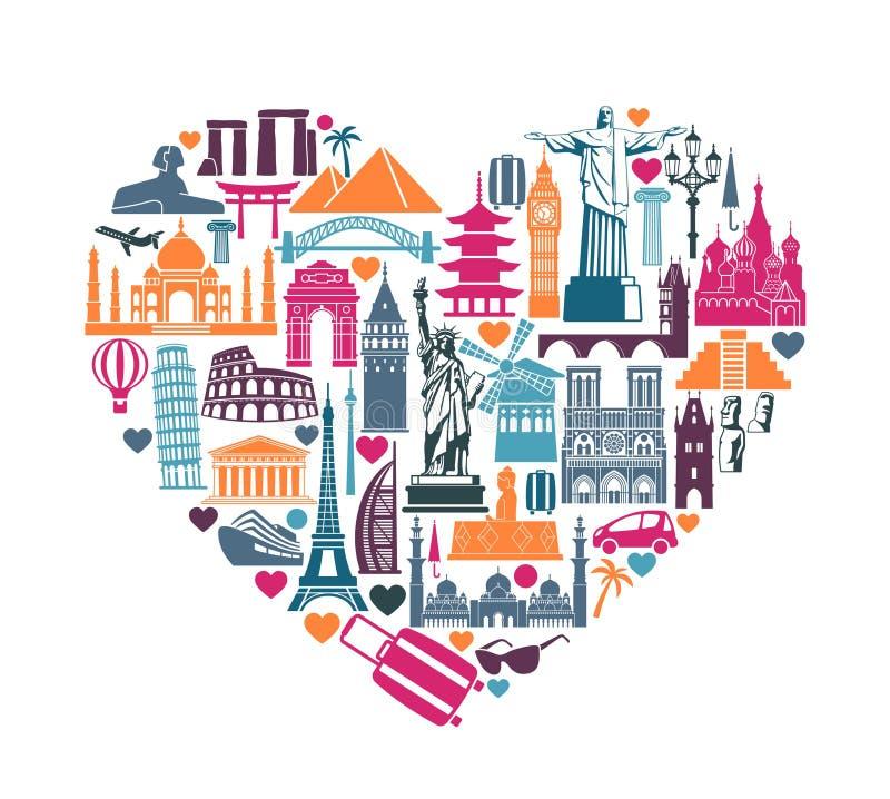 Corazón de las atracciones turísticas del mundo de los iconos de los símbolos y de las señales arquitectónicas ilustración del vector