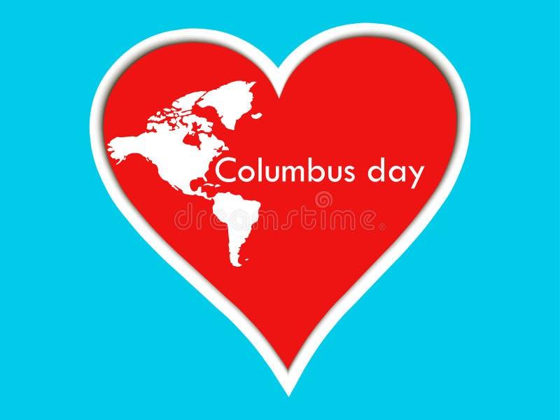 Corazón de las etiquetas engomadas de Columbus Day Cartel con el corazón y los continentes stock de ilustración