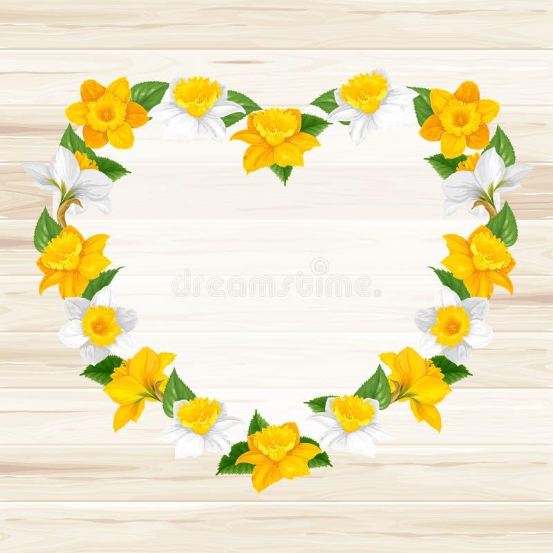 Corazón de las flores de la primavera stock de ilustración