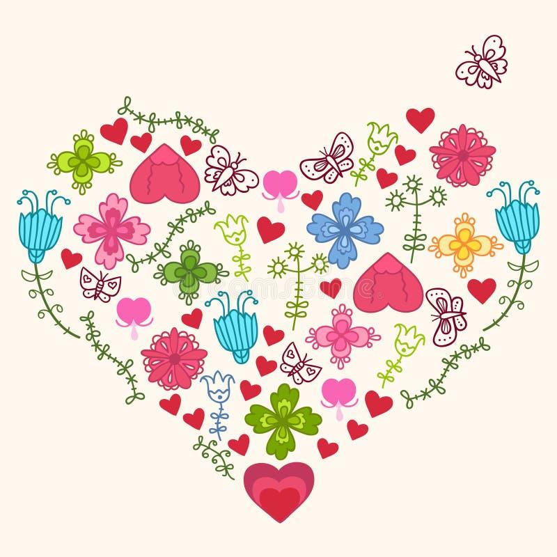Corazón de las flores de los niños ilustración del vector
