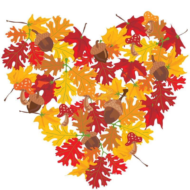 Corazón de las hojas de otoño libre illustration