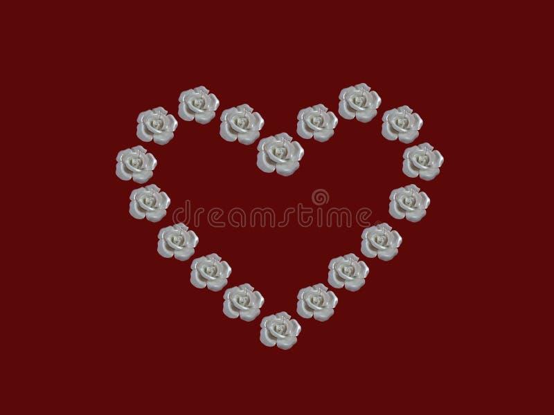 Corazón de las rosas blancas foto de archivo libre de regalías