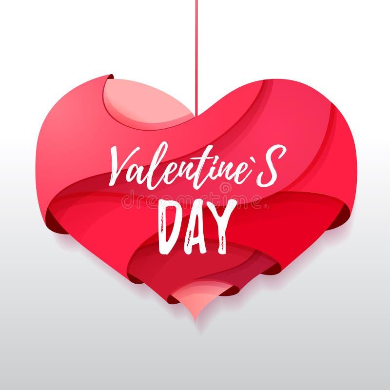 corazón de las tarjetas del día de San Valentín de la papiroflexia 3d Valentine& x27; día de s libre illustration