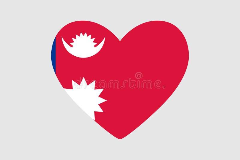 Corazón de los colores de la bandera de Nepal, ilustración del vector